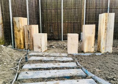 Timberstone pathway and timber groynes