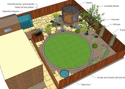 Garden design with a circular lawn and Gazebo