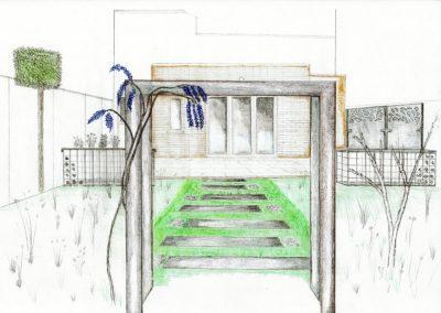 Hand drawn garden sketch