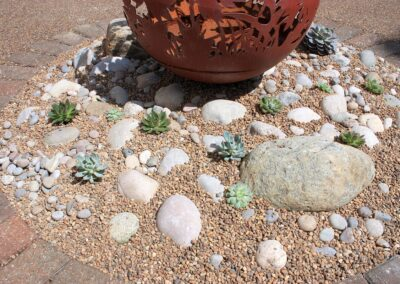 Gravel border with succulents