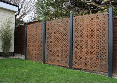 Corten steel garden screens